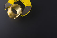 Brass fittings. Yellow brass fittings and gate valve background Stock Photography