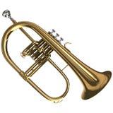 Brass Flugelhorn. 3d rendering of a Brass Flugelhorn Stock Photography
