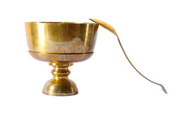 Brass Food Container with Spoon Stock Image