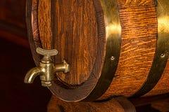 Brass Frame Brown Wooden Barrel Stock Image