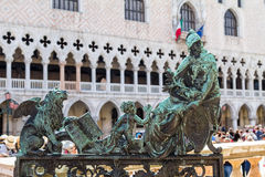 Brass gate sculpture to the Campanile in Venice Stock Images