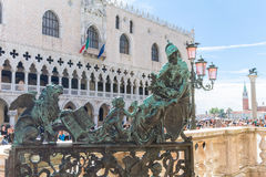 Brass gate sculpture to the Campanile in Venice Royalty Free Stock Photos