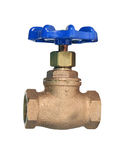 Brass gate valve isolated with path Royalty Free Stock Photos