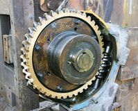 Brass Gear and Worm Gear Stock Photography