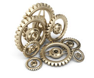 Brass gears. On white background. 3d render Stock Image