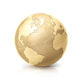 Brass globe 3D illustration north and south america map Royalty Free Stock Image