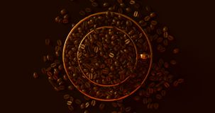 Brass Gold Coffee Cup an Saucer Full Of Coffee Beans. 3d illustration royalty free stock photos