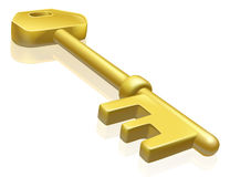 Brass or gold key illustration Royalty Free Stock Images