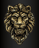 Gold Lion Door Knocker. A Brass or Gold Lion Door Knocker Sculpture Royalty Free Stock Photography