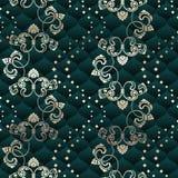 Brass and green seamless Rococo floral Stock Photos