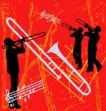 Brass Grunge Background. Trombone Brass Instrument based grunge background royalty free illustration