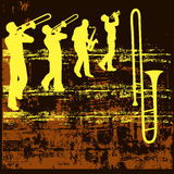Brass Grunge Background. Background grunge illustration with brass musicians and a trombone Royalty Free Stock Photos