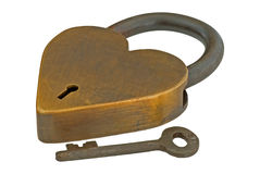 Brass heart authentic lock and key isolated Stock Image
