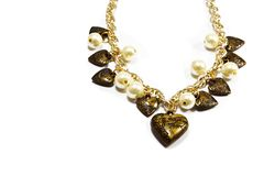 Brass hearts. Brass heart on white background vector illustration