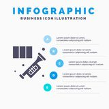 Brass, Horn, Instrument, Music, Trumpet Solid Icon Infographics 5 Steps Presentation Background stock illustration