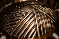 Brass hotpot pan for grill and soup Royalty Free Stock Image