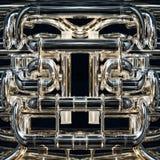 Brass instrument. Detail of a fancy brass instrument stock photo