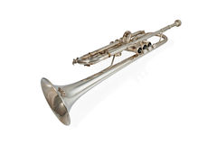Brass instruments trumpet. Wind Instrument - laying brass trumpet isolated on white background Stock Photos