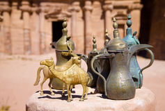 Brass jugs near the Monastery in Petra, Jor Stock Photo