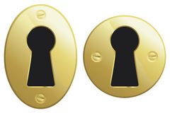 Brass keyhole. S in oval and circular versions Royalty Free Stock Image