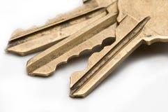 Brass keys on isolated white background. Stock Photo