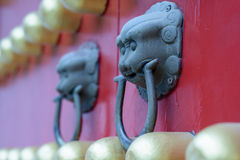Brass knocker. The Ming Tomb is the tomb of Zhu Yuanzhang, first emperor of the Ming Dynasty.The construction system of the Ming Tomb initiated a standard Stock Photography