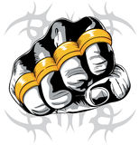 Brass knuckle fist. Fist with gold brass knuckle vector illustration