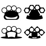 Brass Knuckle. Silhouettes Isolated on White Background Royalty Free Stock Images