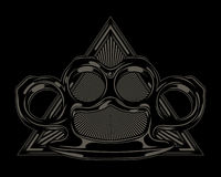 Brass Knuckles and triangle Illustration. Stock Photos