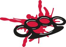 Brass knuckles with blood. Vector Stock Image