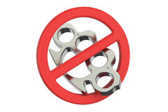 Brass knuckles with forbidden sign, 3D rendering Royalty Free Stock Image