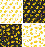 Brass Knuckles or Knuckle Duster Aligned & Random Seamless Pattern Gold Color Set Stock Photography