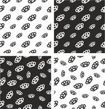 Brass Knuckles or Knuckle Duster Big & Small Aligned & Random Seamless Pattern Set Royalty Free Stock Image