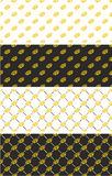 Brass Knuckles or Knuckle Duster Seamless Pattern Gold Color Set Stock Photo