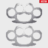 Brass knuckles vintage halftone style Royalty Free Stock Photo