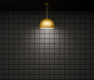 Brass lamp against of wall interior background 3d rendering Stock Photography