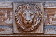 Brass lion head on the door, black and white Stock Photo