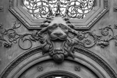 Brass lion head on the door, black and white.  stock photo