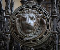 Brass lion head on the door, black and white.  royalty free stock photo