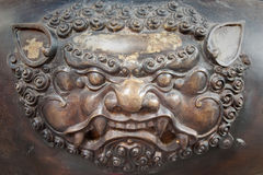 Brass lion head sculpture in thai temple Stock Photography