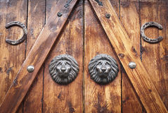 Brass Lion heads Stock Images