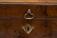 Brass Lock and Handle of a Vintage Wooden Chest Stock Images