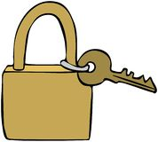 Brass Lock & Key Stock Photo