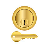 Brass Lock And Key Royalty Free Stock Photography