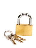 Brass lock and keys Stock Images