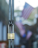 Brass Lock on a Steel Gate Stock Photography