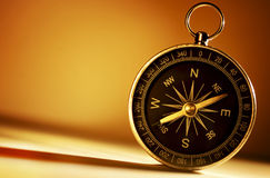 Brass magnetic compass Stock Image