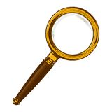 Brass magnifying glass with wooden handle isolated on a white background. Color line art. Retro design. Royalty Free Stock Image