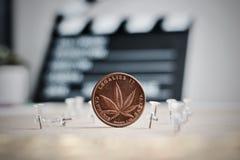 Brass Marijuana coin Stock Image