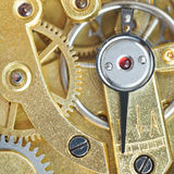 Brass mechanical clockwork of vintage clock Royalty Free Stock Photo